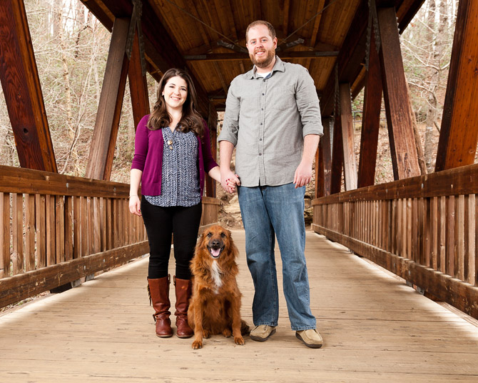 Roswell Mill Engagement, engagement photography with dog on covered bridge